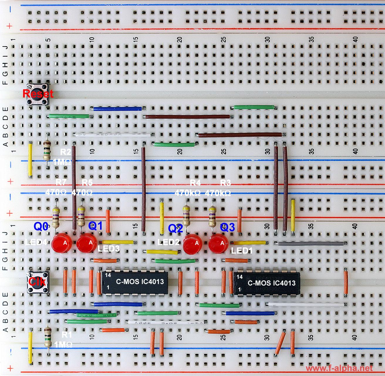 F Alphanet Experiment 15 Johnson Counter Circuit